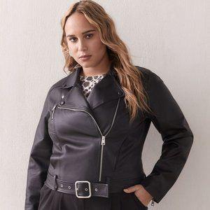 Jackets & Blazers - Black Faux-Leather Biker Jacket - Size 3X